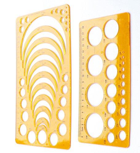 YEJI Set of 2 Plastic orange color Circle Radius Arc Master Stencil Circle Geometric Drawing Measuring Template Stencil -