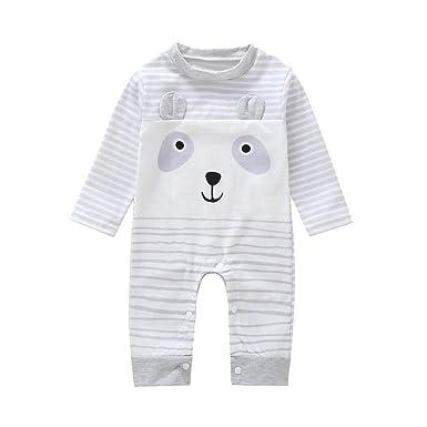 b3e067c30306 Jchen(TM) Newborn Baby Boy Girl Spring Long Sleeve Cartoon Print Striped  Jumpsuit Romper