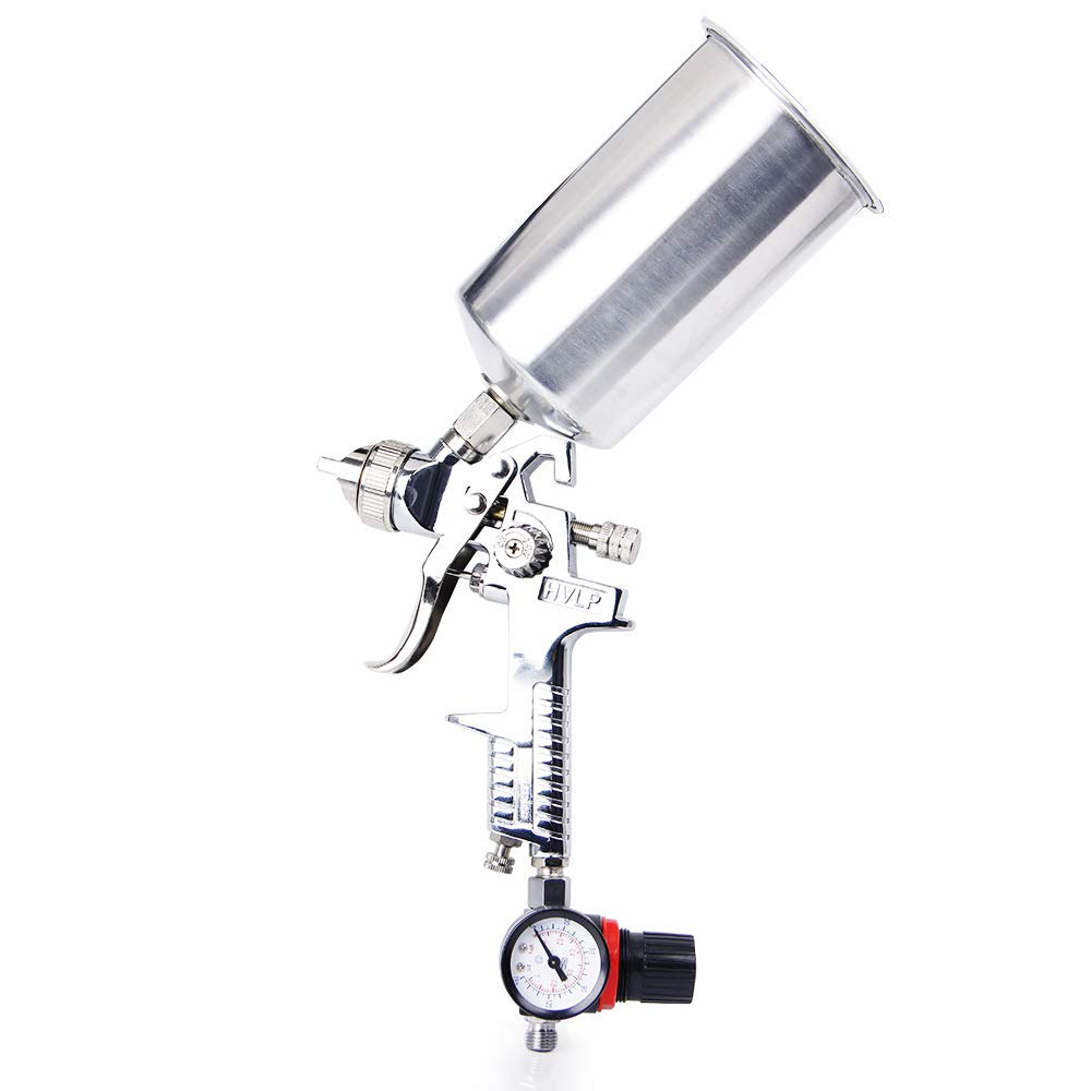 BANG4BUCK 2.5mm HVLP Complete Gravity Feed Spray Gun Kit with 1 Liter Aluminum Cup and Air Regulator