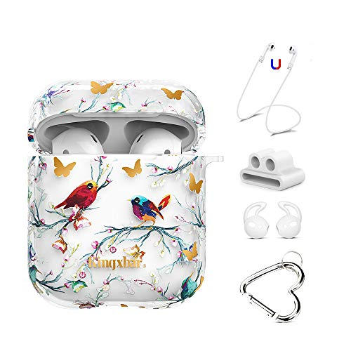 AirPods Case Cover 5 in 1 with Bling Crystal from Swarovski for Apple AirPods 2 & 1 Charging Case Protective Bird Design Hard PC Skin Case with Keychain/Anti-Lost Strap/Earhooks by KINGXBAR