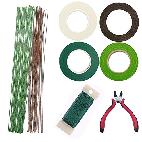 Woohome Floral Stem Arrangement Tools Kit with Wire Cutter Green Floral Tapes 26 Gauge Green and Dark Brown and White Floral Stem Wire and 22 Gauge Paddle Wire for Bouquet Stem Wrap Florist