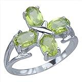 Genuine Natural Peridot Gemstone Cross Sterling Silver Jewelry Band Womens Ring