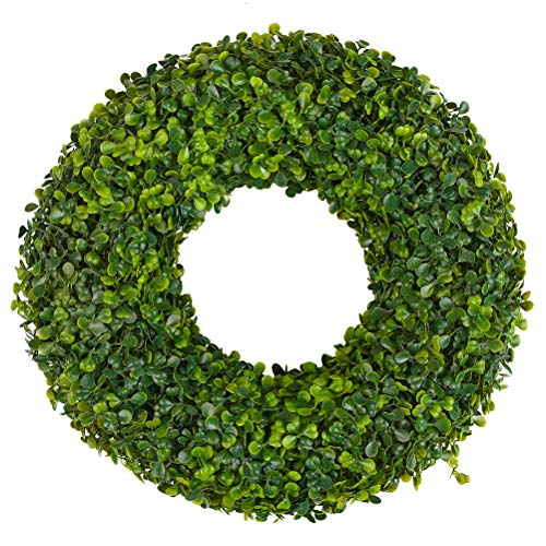 - ATPWONZ 15 in. Front Door Wreath with Artificial Green Leaves, Boxwood Wreath Outdoor Green Wreath for Front Door Wall Window Party Church Wedding Farmhouse Christmas Décor