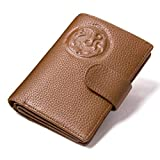 Mens Real Leather Passport Holder Travel Trifold ID Card Passport Wallet