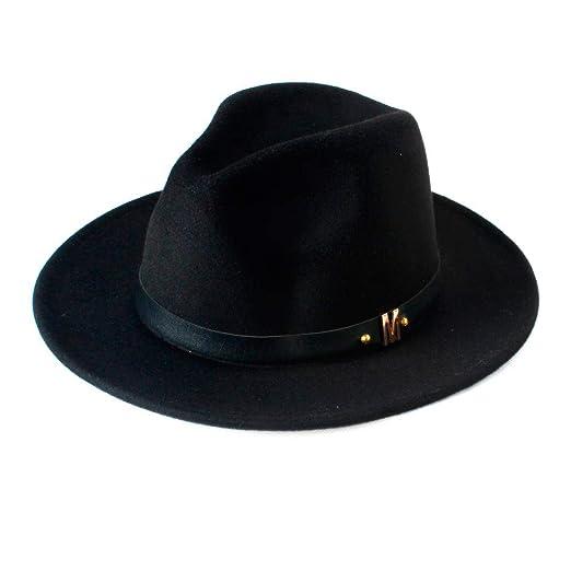 Men s Black Dad Fedora Hat for Gentleman Woolen Wide Brim Jazz Church Cap  Vintage Panama Sun 70608f4bb7de
