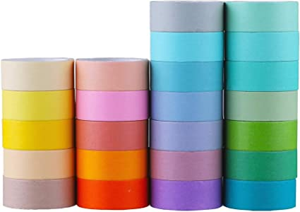 Journal Variety of Colors in Solid Glitter /& Foil| Great for Adults and Kids; Decorating Scrapbook Planner; Gift Wrapping; DIY Arts /& Crafts 24 Rolls Multi-Purpose Washi Tape Set