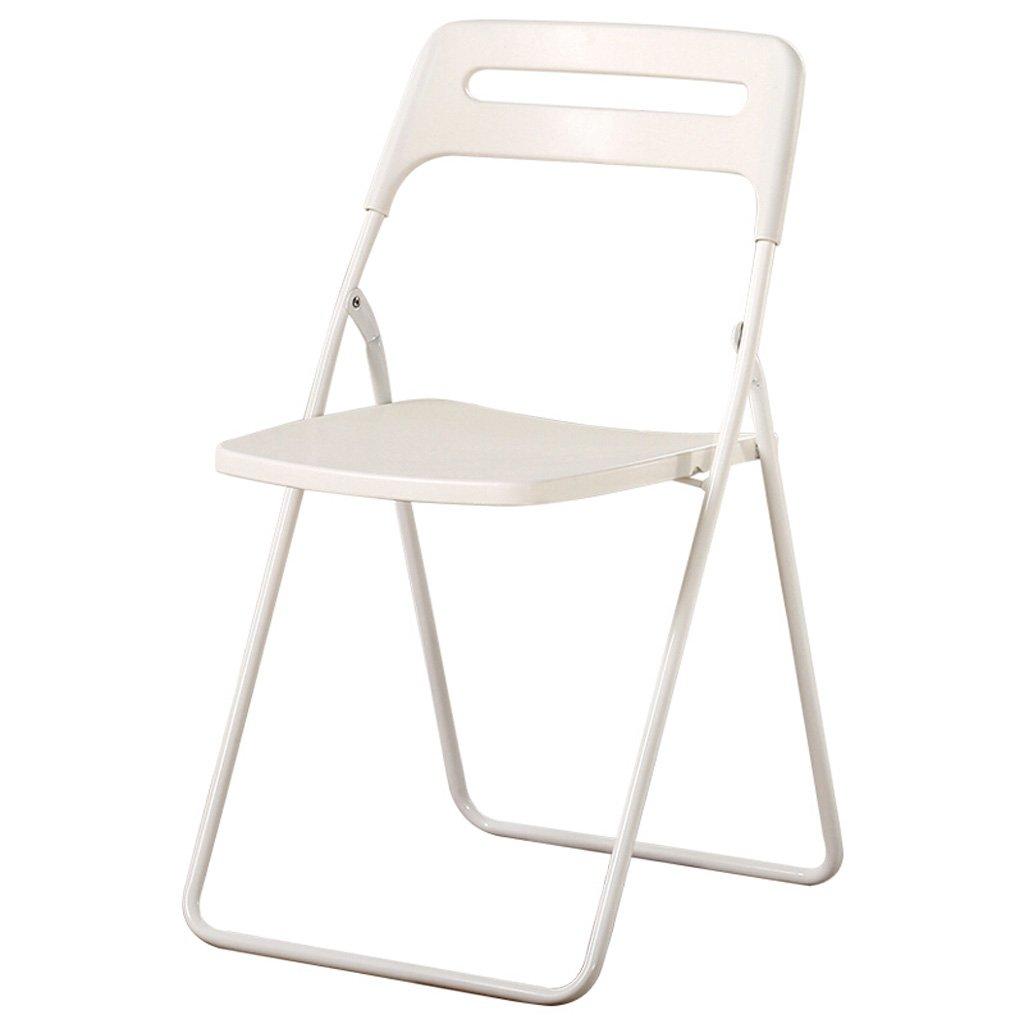 Homelx Innenklappstuhl-moderner Art-Trainingsstuhl-Klubsessel-dünner tragbarer Stuhl, weiß