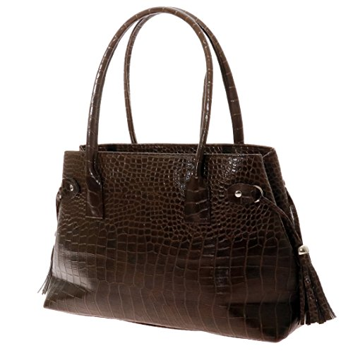 Handbags Women's Tote Twinya PU Brown Crocodile Beautiful Top Satchel Handle Dark Hobo Leather Alligator qn0pd6x0