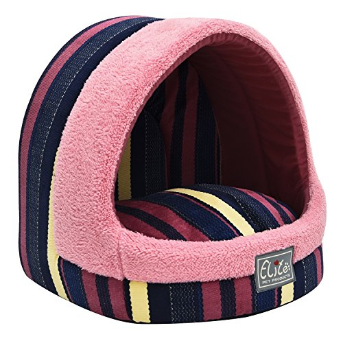 (Tofern Colorful Dots Patterns Striped Cute Pet Fleece Bed Puppy Small Medium Dog Cat Sleeping Igloo House Non-Slip Warm Washable (Colorful)