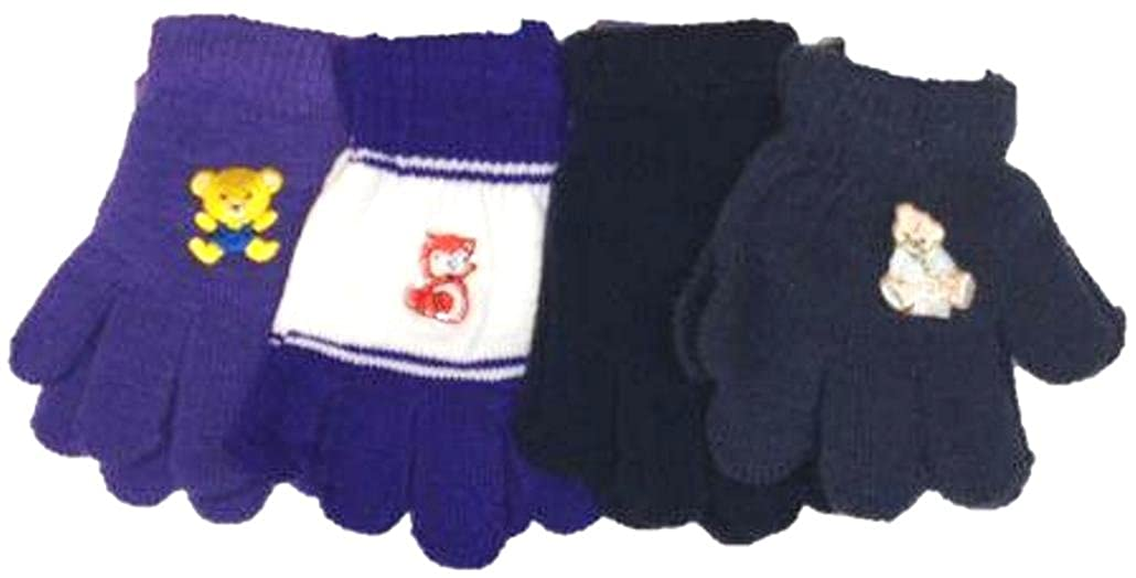 Set of Four Pairs One Size Stretch Magic Gloves for Infants Ages 1-4 Years