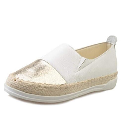Mujeres Alpargatas Pisos Creepers Zapatos ResbalóN En Cuero Suave Patchwork Glitter Mocasines para Mujer Zapatos Casuales: Amazon.es: Zapatos y complementos