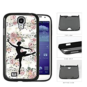 Ballerina Vector on Floral Musical Notes Background Samsung Galaxy S4 I9500 Hard Snap on Plastic Cell Phone Cover