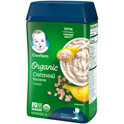 5108DMzONKL - Gerber Baby Cereal Organic Oatmeal With Banana, 8 Oz