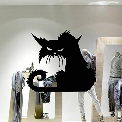 [Yanqiao PVC Black Scary Cat with Hidden Bitterness and Resentment in Her Eyes Artistic Design for Halloween Showcase and Party Decor Removable and Waterproof Wall Decal] (Halloween Decor Online)