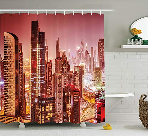(Ambesonne Cityscape Shower Curtain, Dubai at Night Cityscape with Tall Skyscrapers Panorama Picture Arabian Peninsula, Fabric Bathroom Decor Set with Hooks, 70 Inches, Pink)