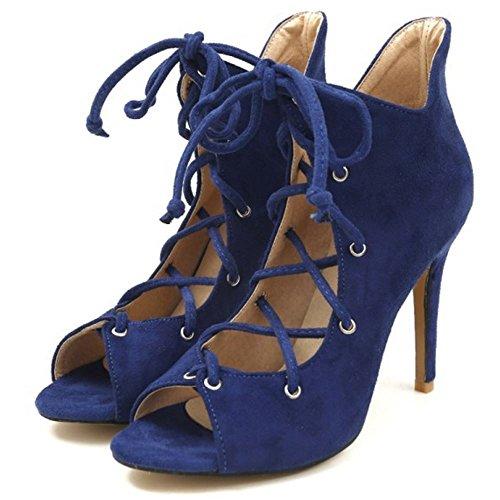 Coolcept Women Open Toe Summer Bootie Sandals Blue qjS8ww5mQ
