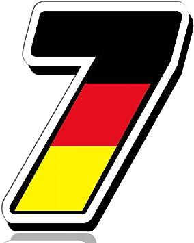 Biomar Labs® Número 7 Bandera Nacional Alemania Germany Calavera Vinilo Adhesivo Pegatina Coche Auto Motocross Moto Sport Start Racing Tuning N 257: Amazon.es: Coche y moto