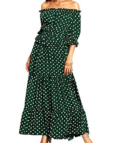 Aox Women Casual Off Shoulder Ruffle Sleeve Polka Dots Print A Line Chiffon Long Maxi Dress Sexy Summer Beach Party Sundress Lady Vestido (2XL, Malachite Green)