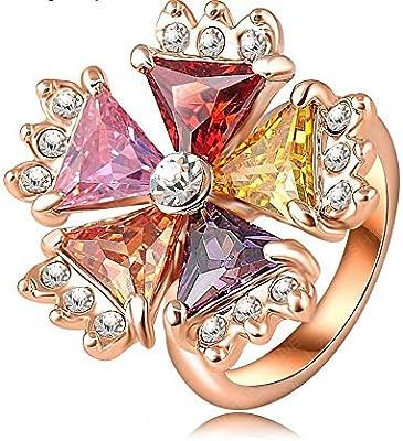 704f6683c2e9 Vintage Anillo real SWA chapado en oro rosa cristal austríaco Multicolor  Flor Anillos Joyas para mujeres por accessorywala. Cargando imágenes.