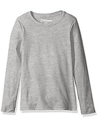 Hanes Girls` Long-Sleeve Crewneck T-Shirt, K123, XS, Light Steel