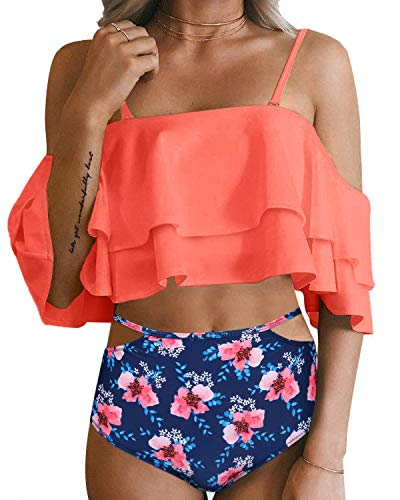 Tempt Me Women Two Piece Swimsuit Off Shoulder Ruffled Flounce Crop Top Bikini with Cutout Bottom Set Salmon Blue S