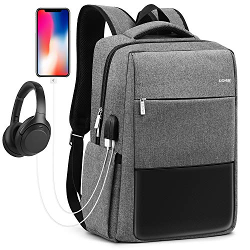 - HOMIEE Travel Laptop Backpack, Extra Large School Backpack for Men and Women with USB Charging Port, Water Resistant Big Business Computer Backpack Bag Fit 15 Inch Laptops Notebook, Gray, LB1503G