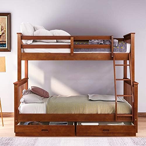 Twin Over Full Bunk Bed, Bunk Bed with Two Storage Drawers and Ladder. Walnut