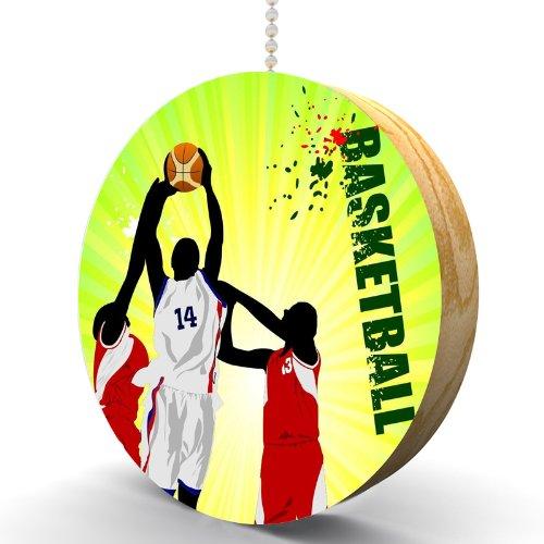 Shootin' Hoops Basketball Hardwood Oak Fan / Light Pull