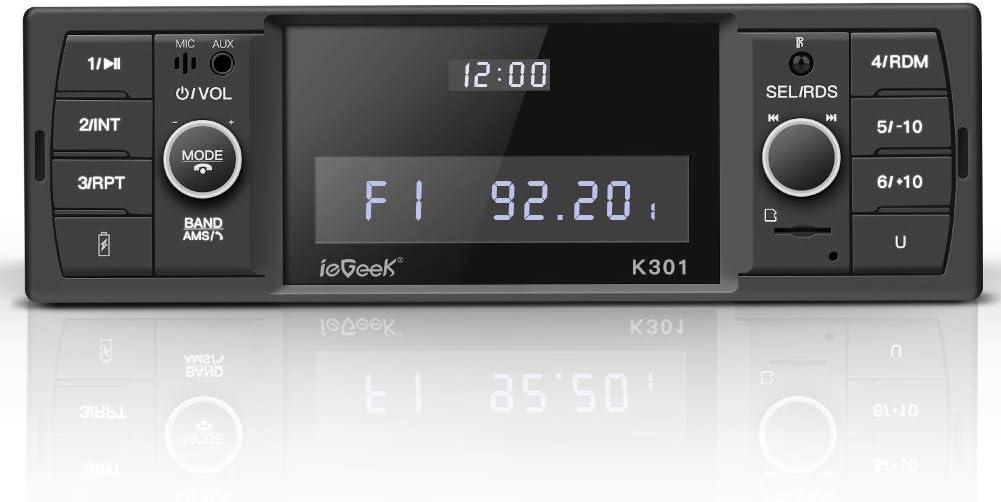 ieGeek Autoradio Bluetooth, Estéreo RDS, Soporta 60W X 4 MP3/FM/AM/SD/AUX/USB con Dos Botones, para controlar el Volumen y Tiempo de visualización Independiente, Llamadas Manos Libres