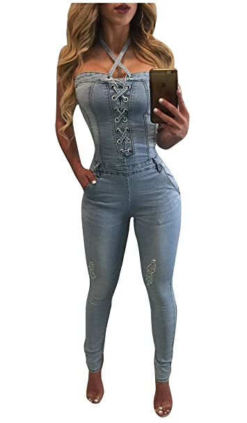bd576730860b Felicity Young Women Sexy Halter Sleeveless Lace Up Denim Jumpsuit Romper  Bodycon Clubwear Outfit Light Blue
