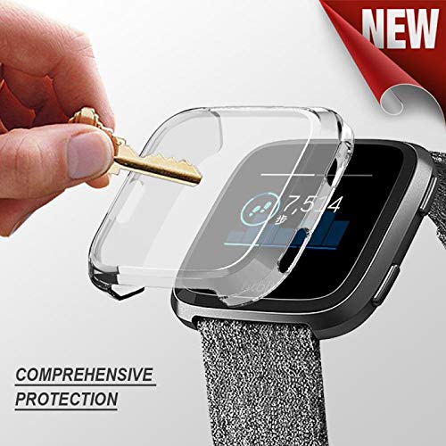 Fitbit Versa case,Ankertoy Fitbit Versa Screen Protector TPU All-Around Full Front Protective Case 0.3mm HD Clear Cover for Fitbit Versa Smart Fitness Watch (Transparent)