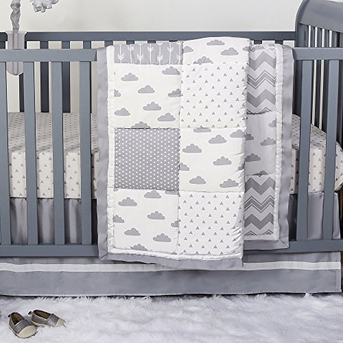 - Grey Cloud and Geometric Patch 3 Piece Baby Crib Bedding Set by The Peanut Shell
