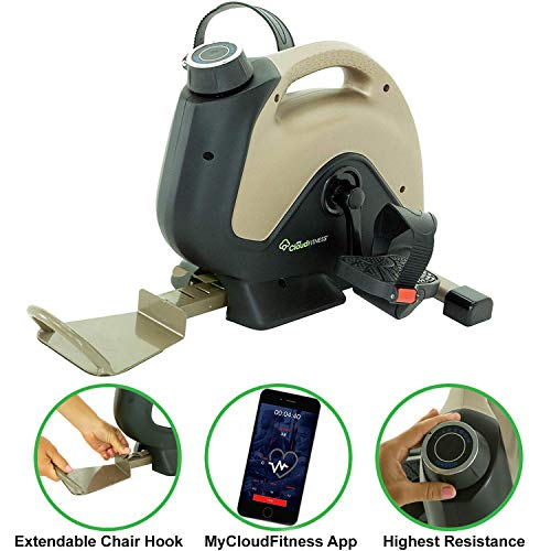 Exerpeutic 900 ExerWork Bluetooth Under Desk Exercise Bike with Extendable Wheel Holder for All User Height and Free APP