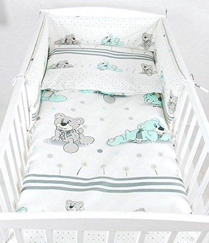 BABYLUX Bettwäsche Bezug 2 Tlg. 100 x 135 cm Kinderbettwäsche Bettwäsche Bettset Babybettwäsche BÄREN (68. Bär Träumer Minze)
