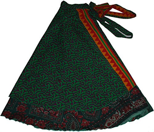 Wevez Wholesale Lot of 10 Pcs Indian Printed Reversible Art Silk Wrap Around Skirts -