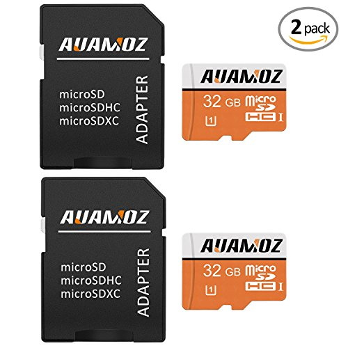 Micro SD Card 32GB,AUAMOZ Micro SDHC Class 10 UHS-I High Speed Memory Card for Phone,Tablet and PCs – with Adapter (2 Pack)