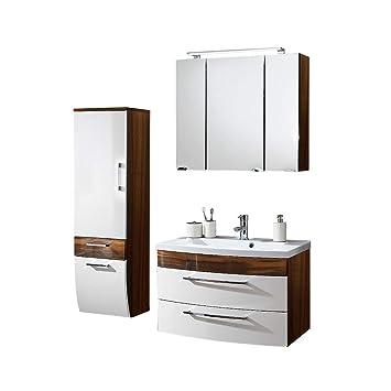 Badmöbel Set 3-teilig ● Weiß hochglanz & Walnuss Holz-Optik ● Badezimmer  Komplettset: Spiegelschrank mit LED Beleuchtung, Waschtisch mit  Unterschrank, ...