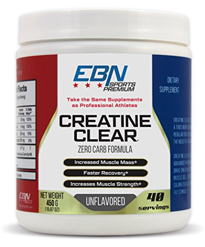 Creatine Clear- Sugar Free- Zero Carb Formula- Increase Muscle Mass & Raw Strength- 6170mg Creatine/Beta-Alanine Blend - Unflavored- 40 Serv by EBN Sports