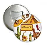 Sombrero Mexico Pyramid Desert Cactus Mexican Round Bottle Opener Refrigerator Magnet Pins Badge Button Gift 3pcs