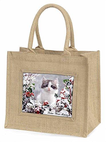 Advanta Pretty Kitten Love You Mum Einkaufstasche, groß/Weihnachten Geschenk, Jute, beige/natur, 42x 34,5x 2cm