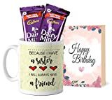 TIED RIBBONS Printed Coffee Mug with Dairy Milk Chocolates and Greeting Card