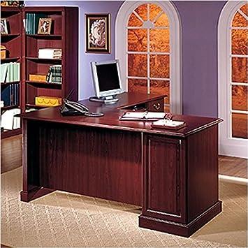 Bush Furniture Saratoga L Shape Executive Desk With Bookcase And File  Drawer In Cherry