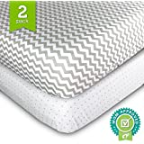 Ziggy Baby Jersey Cotton Fitted Crib Sheet Set, Grey/White, 2 Pack