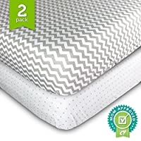 Crib Sheets, Toddler Bedding Fitted Jersey Cotton (2 Pack) Grey Polka Dot, Ch...
