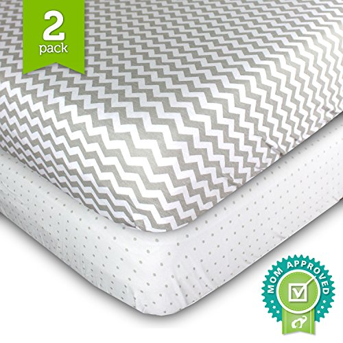 Crib Sheets, Toddler Bedding Fitted Jersey Cotton (2 Pack) Grey Polka Dot, Chevron