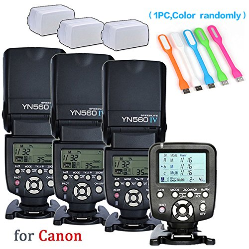 Yongnuo 3PCS YN-560IV Manual Flash Speedlite Light + YN560 TX LCD Wireless Flash Trigger Remote Controller For Canon DLSR Cameras+3pcs Camera Flash Diffuser +Huihuang USB LED free gift