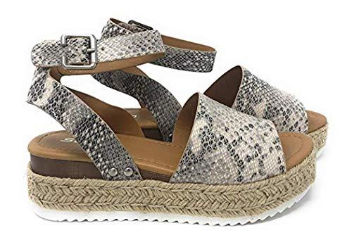 GETSING Women Wedge Sandals Platform Espadrilles Sandals High Heel Shoes Summer Shoes Open Toe Sandals (Snakeskin Pattern), 7 M US