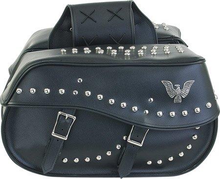 Motorcycle Detachable Saddlebags Large Bags with Studs for Harley Davidson, Yamaha, Kawasaki, Honda ()