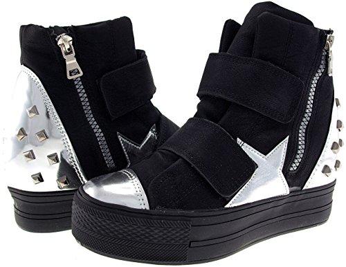 Black Sneakers Klettverschluss Silver C2 C2 Maxstar bis Top Bänder High hoch pzwq4xH7