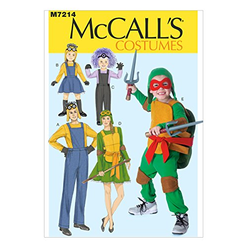 McCall's Costumes M7214, Assorted Adult and Children's Dress Up Costumes Sewing Pattern, S-M-L-XL -
